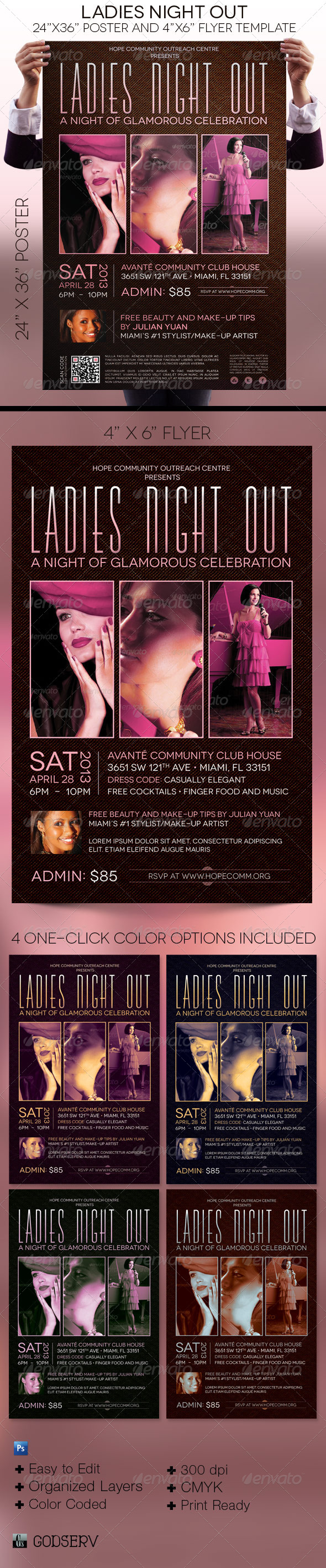 Ladies Night Out Poster Flyer Template - Events Flyers