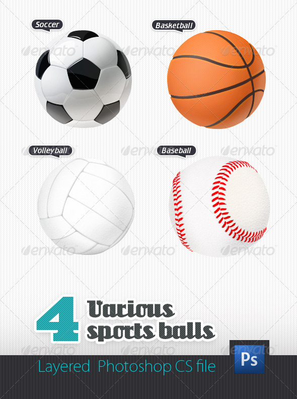 4 Various Sport Balls - Objects Illustrations