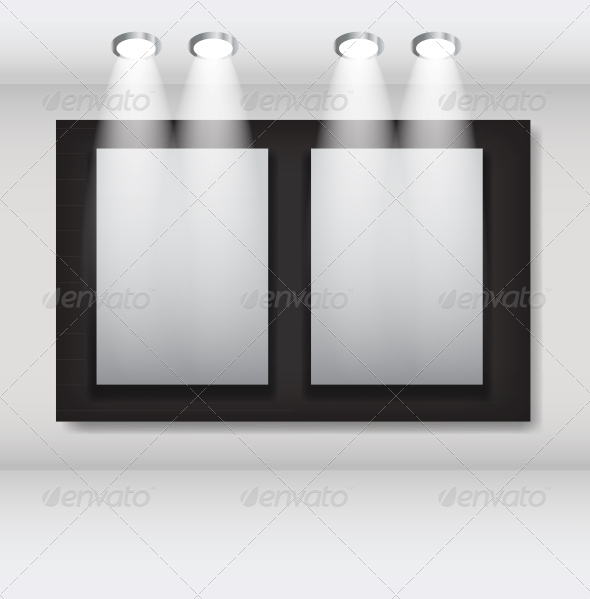 White Frames in Art Gallery Vector Illustration - Miscellaneous Vectors