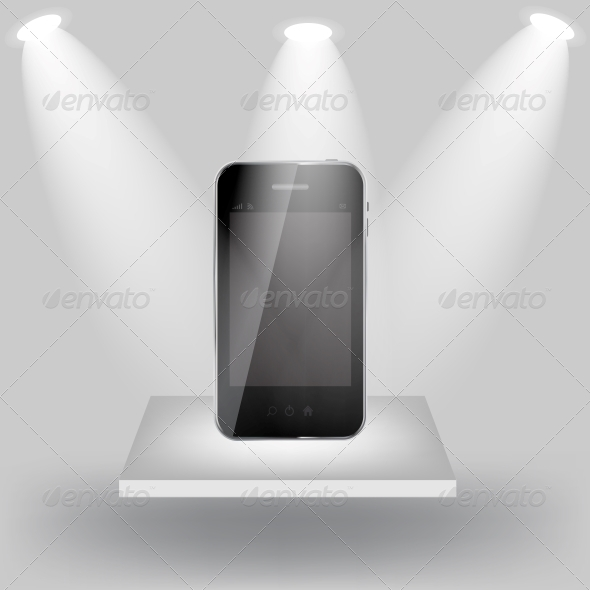 Mobile Phone on White Shelve on Light Grey Background - Miscellaneous Vectors