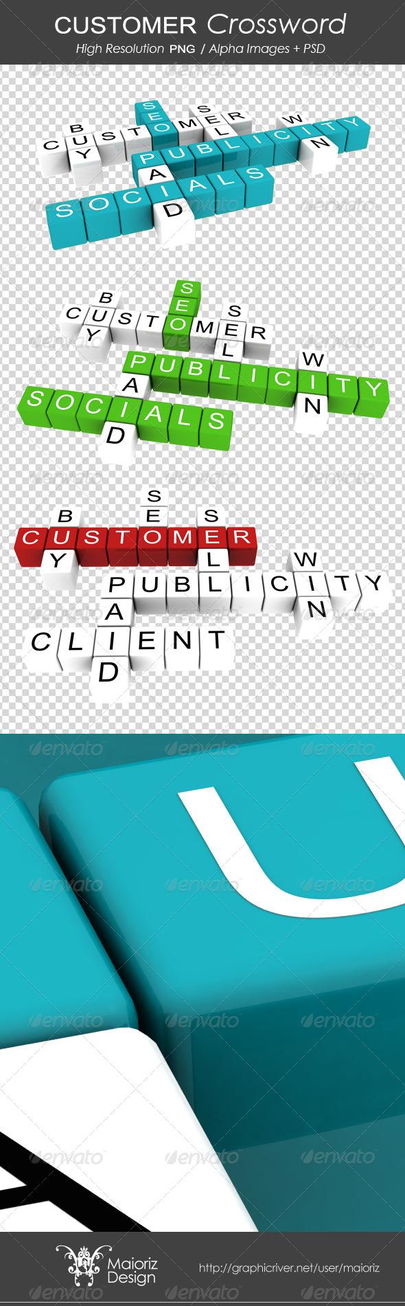 Customer Crossword - Text 3D Renders