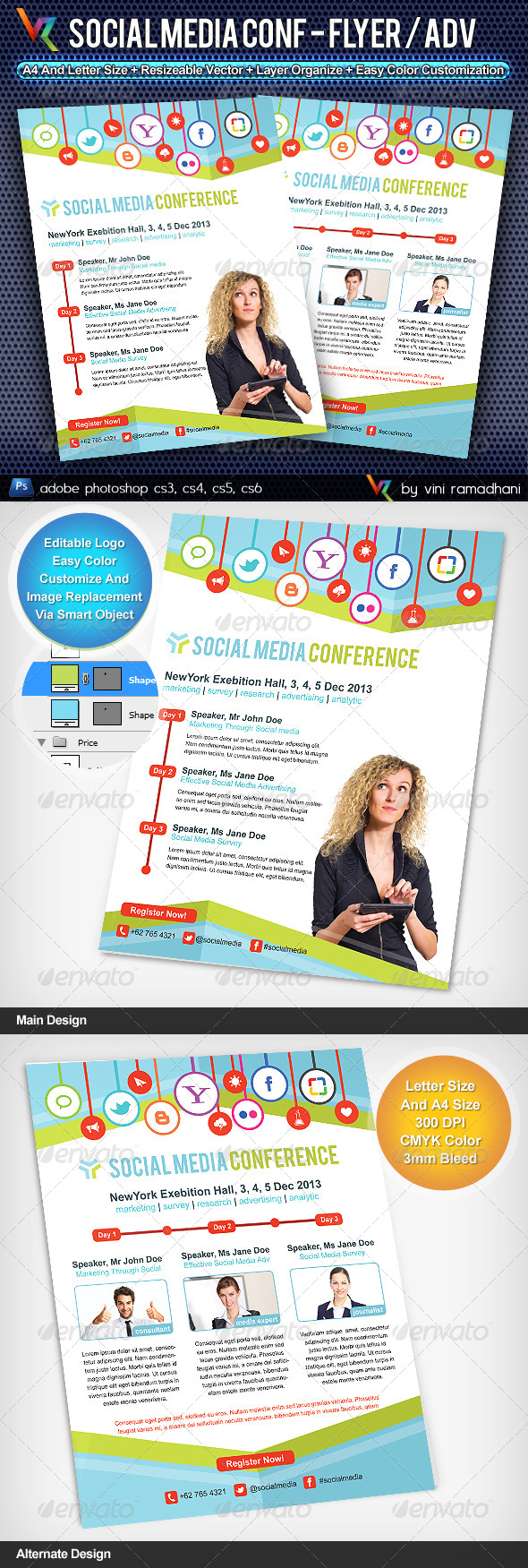 Social Media Conference Flyer Or Advertising - Corporate Flyers