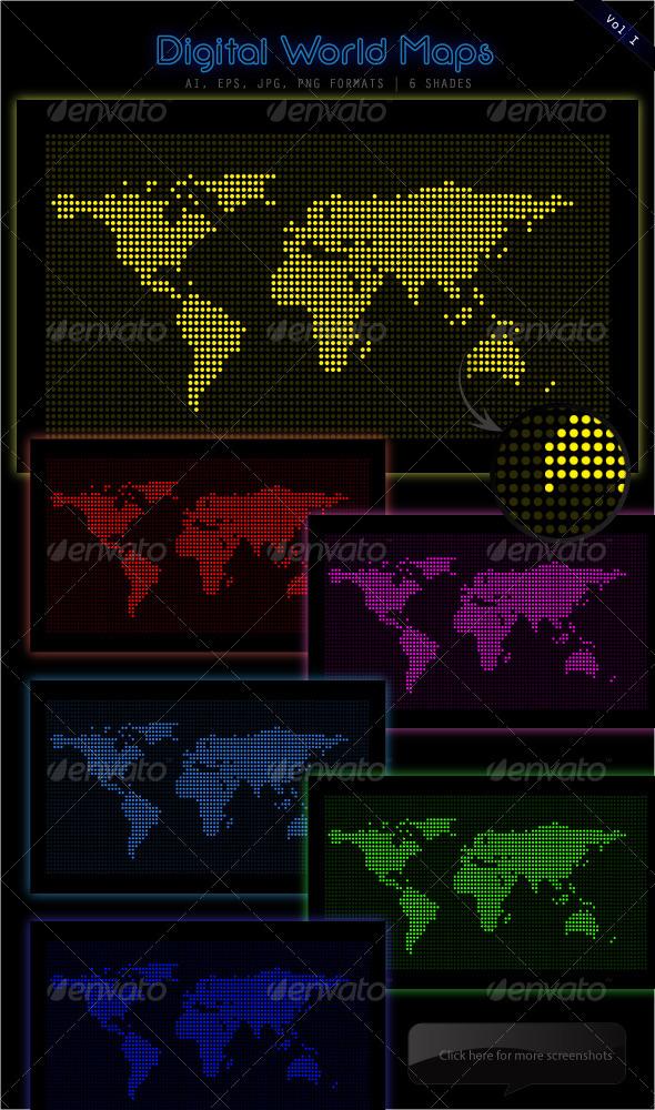 Digital LED World Maps - Backgrounds Business