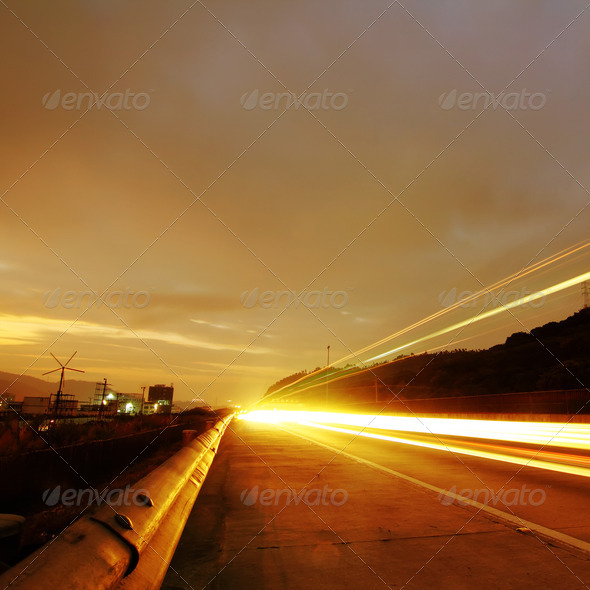 Highway at night - Stock Photo - Images