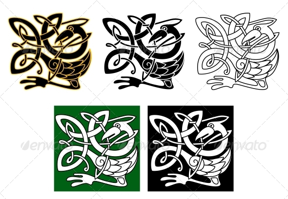 Heron Bird in Celtic Ornament - Decorative Symbols Decorative
