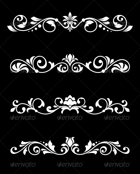 Retro Borders and Dividers in Floral Style - Borders Decorative