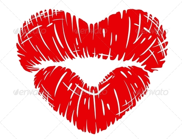 Red Lips Print in Heart Shape - Miscellaneous Vectors