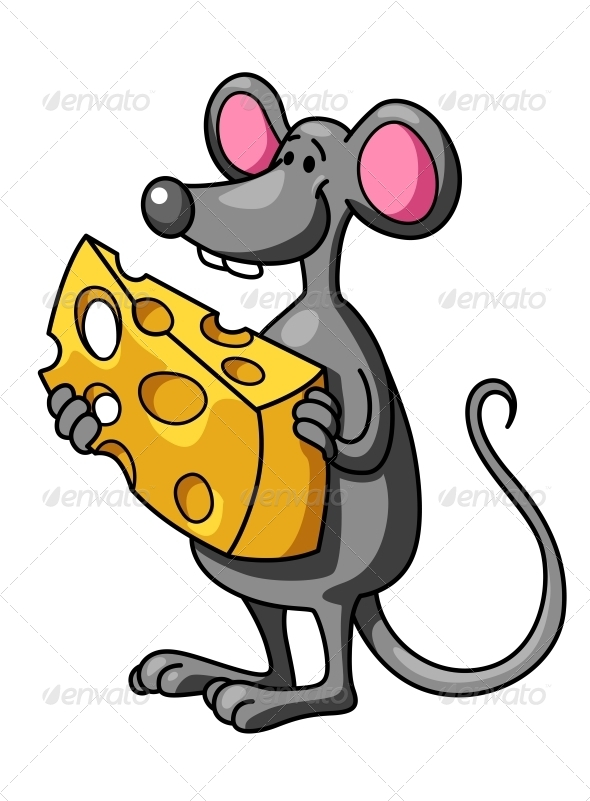 Funny Cartoon Mouse with Cheese - Animals Characters