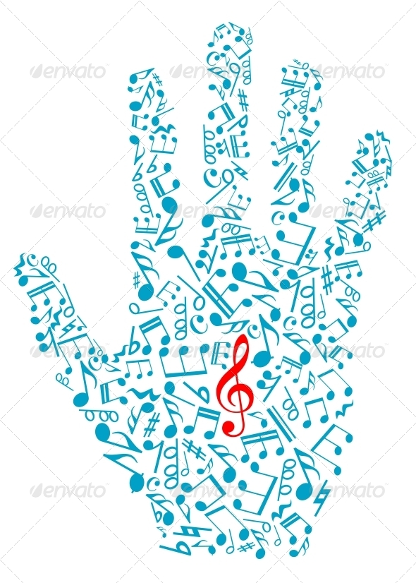 Human Hand with Musical Notes - Miscellaneous Vectors