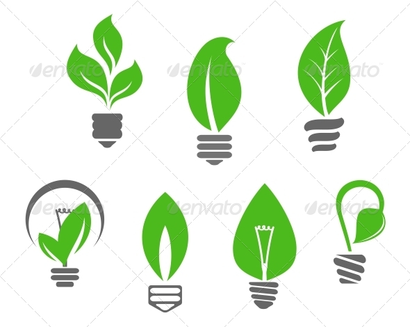 Light Bulbs with Green Leaves - Miscellaneous Vectors