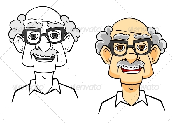 Cartoon Senior Man - People Characters