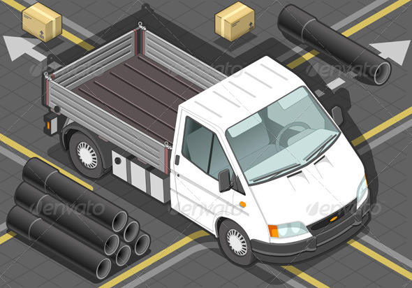 Isometric White Van in Front View - Objects Vectors