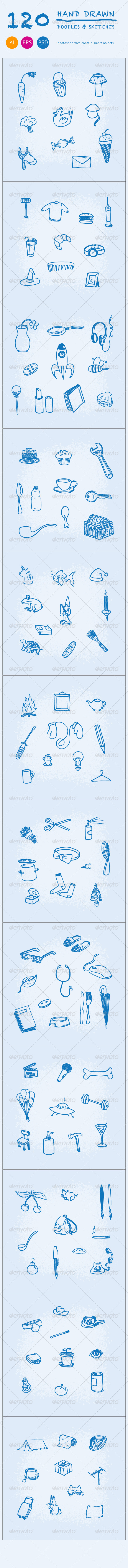 120 Hand Drawn Doodles and Sketches - Objects Icons