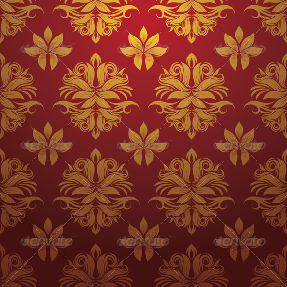 Gold and Red Pattern - Patterns Decorative