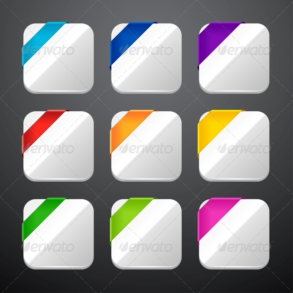 Set of the App Icons with Ribbons. - Web Technology