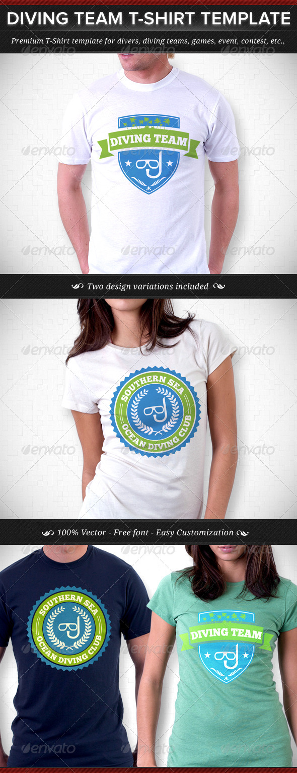 Diving Team T-Shirt Template - Sports & Teams T-Shirts