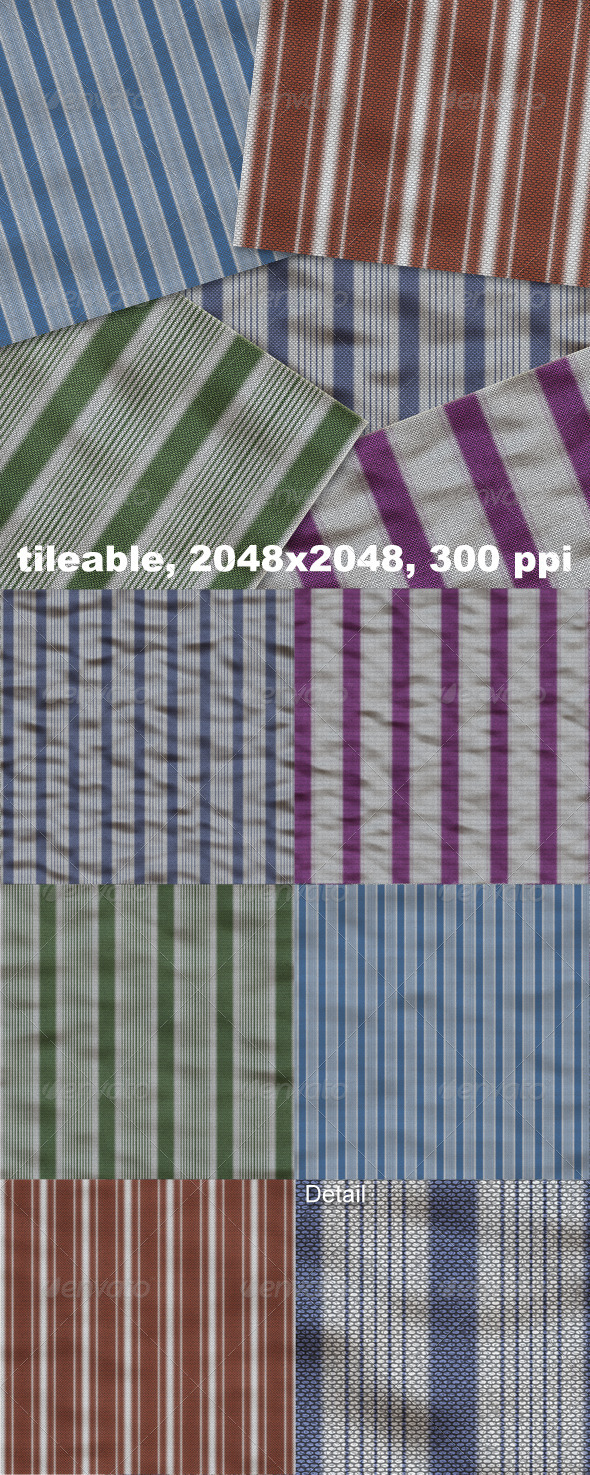 5 Striped Linen - Fabric Textures