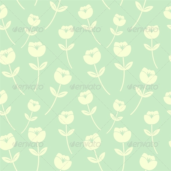 Light Green Seamless Floral Pattern - Patterns Decorative