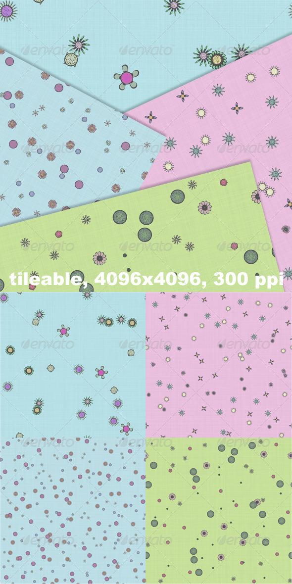 4 Flower Fabrics Vol. 1 - Patterns Backgrounds