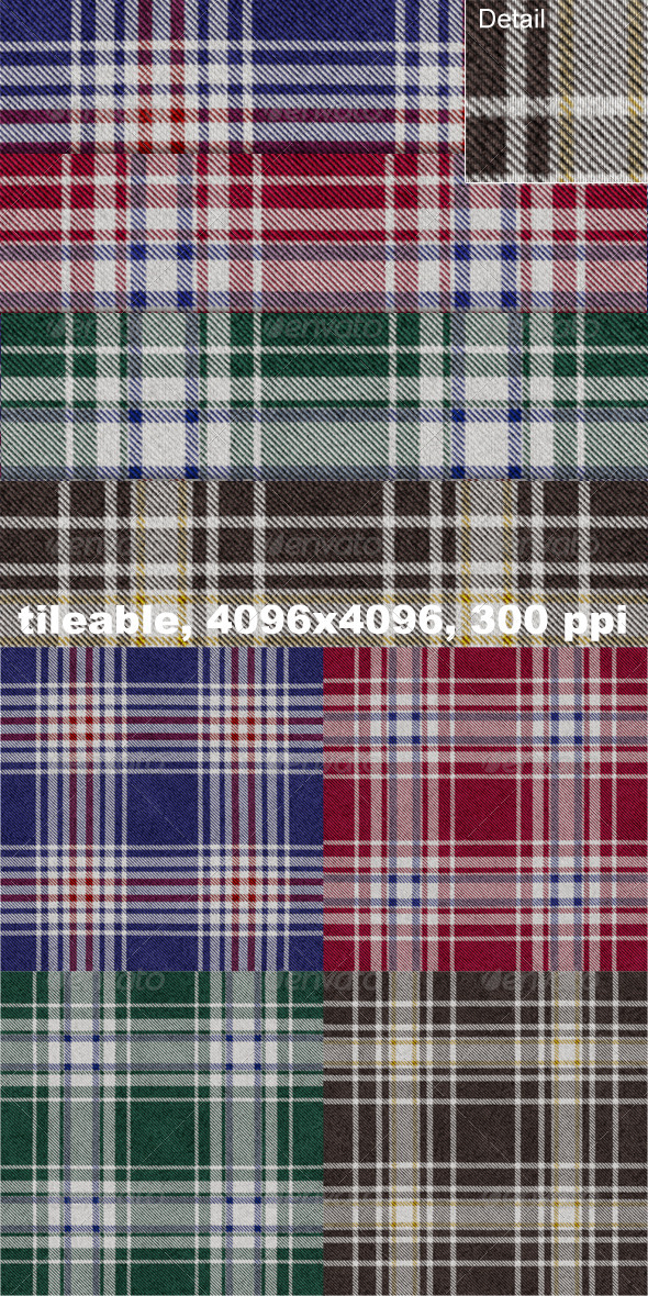 4 Flannel Plaid Textures - Fabric Textures