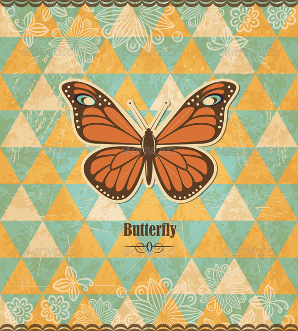 Butterfly Vintage Mosaic Pattern - Retro Technology