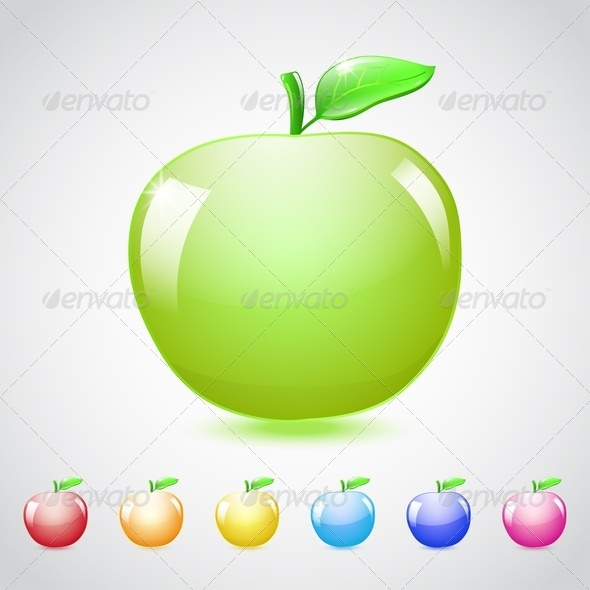 Set Of Glass Apples - Food Objects