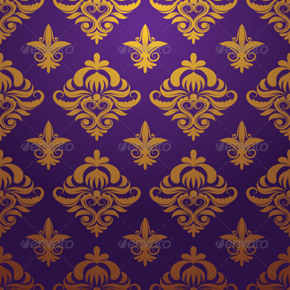 Gold and Purple Parttern Ornament - Patterns Decorative