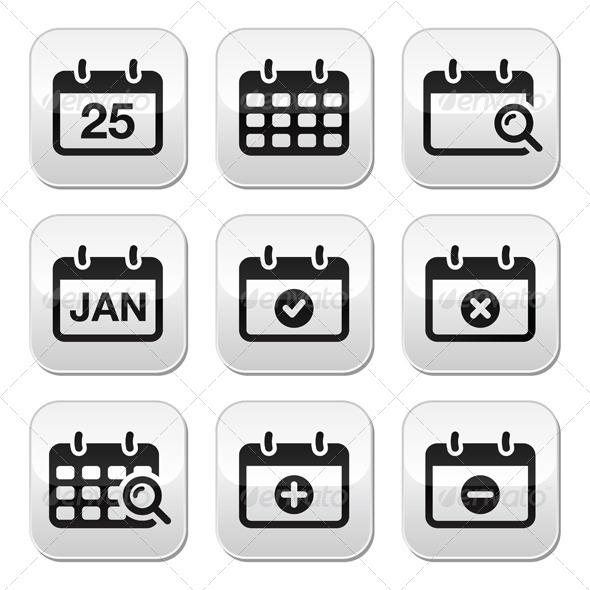 Calendar Date Vector Buttons Set - Concepts Business