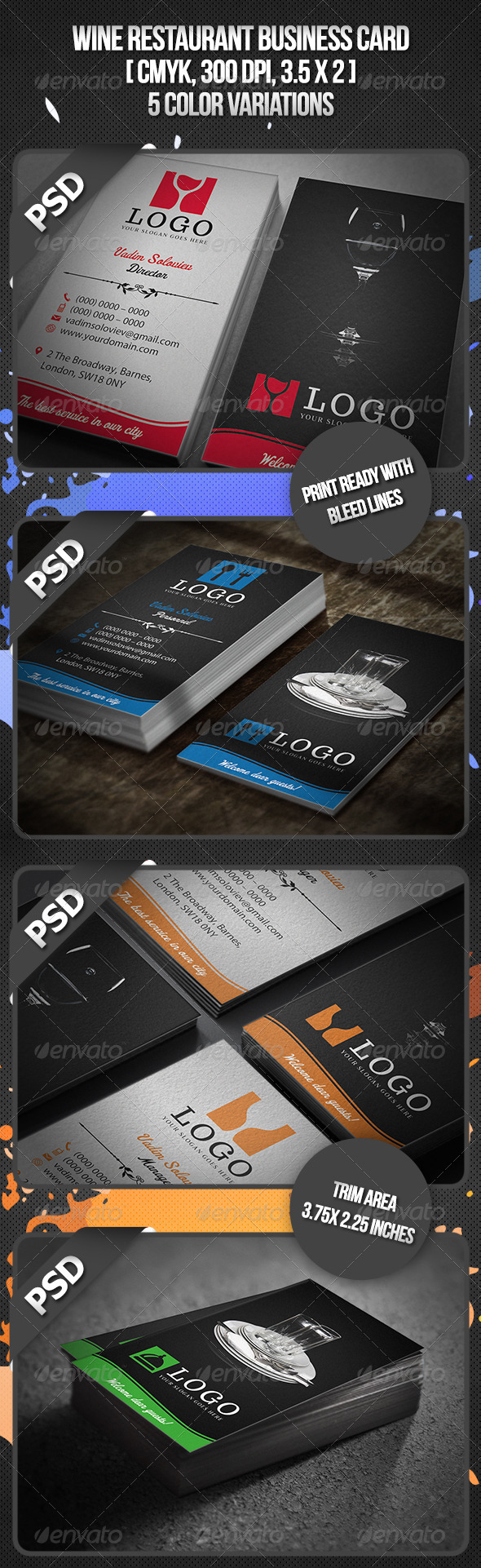 Wine Restaurant Business Card - Industry Specific Business Cards