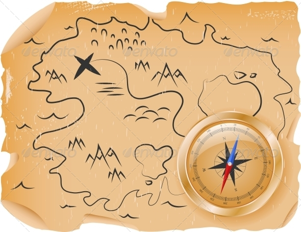 Compass with a Map - Travel Conceptual