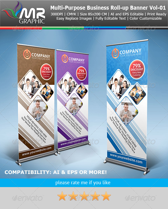 Multipurpose Business Roll-Up Banner Vol-01 - Signage Print Templates