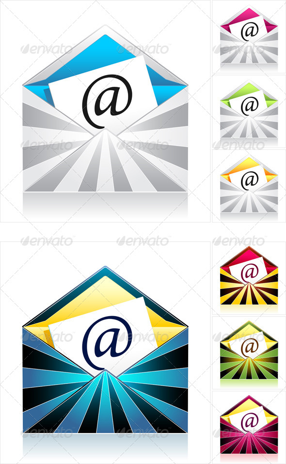 Set Envelopes with Rays and Symbol Email - Communications Technology