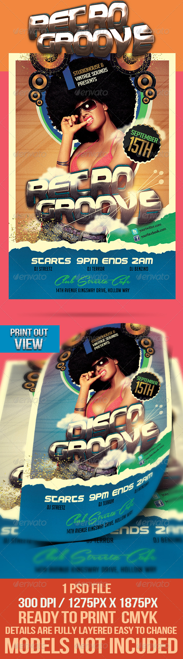 Retro Groove Party Flyer - Clubs & Parties Events