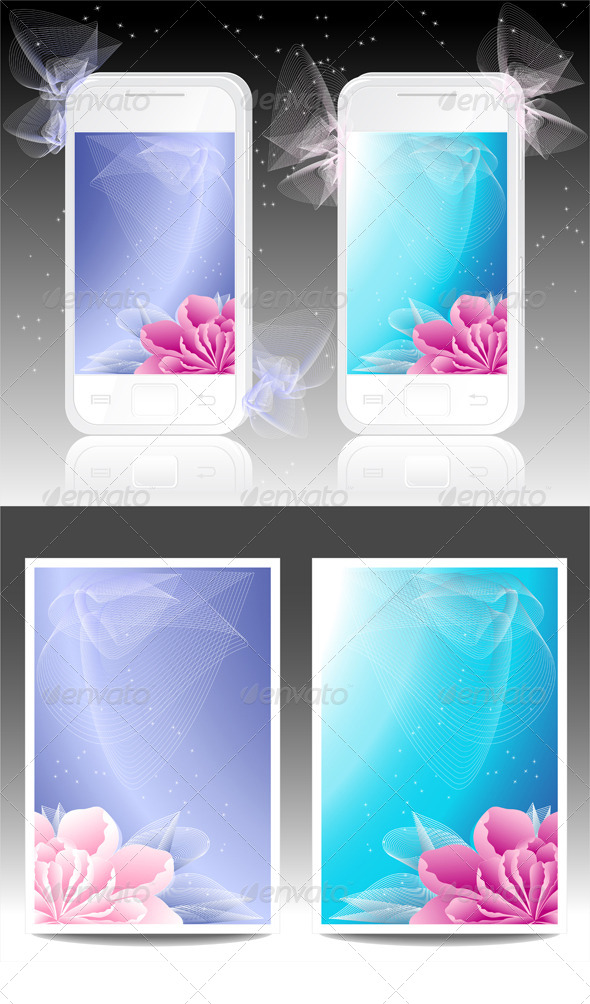White Mobile Phones with Flowers Background - Backgrounds Decorative