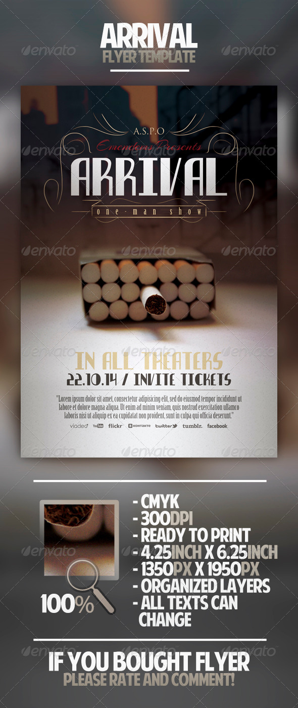 Arrival Flyer Template - Miscellaneous Events