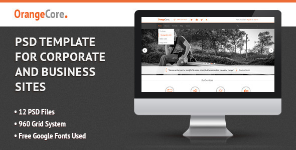 OrangeCore – PSD Template for Business Sites