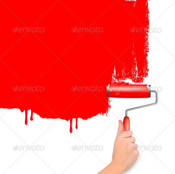 Red Background with Hand and Copy Space - Backgrounds Decorative