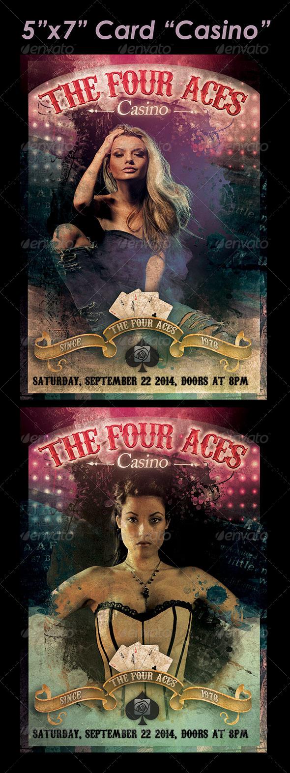 "5""x7"" Card ""Casino""  - Cards & Invites Print Templates"