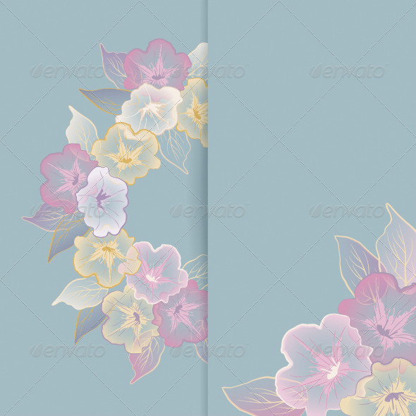 Floral Template with Pastel Flowers - Flowers & Plants Nature