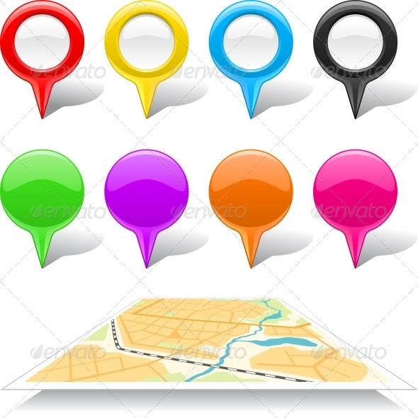Set of Map Markers and Abstract Map. - Web Technology