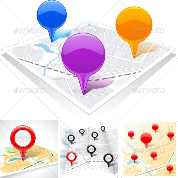 Abstract Map with Glossy Markers. - Web Technology