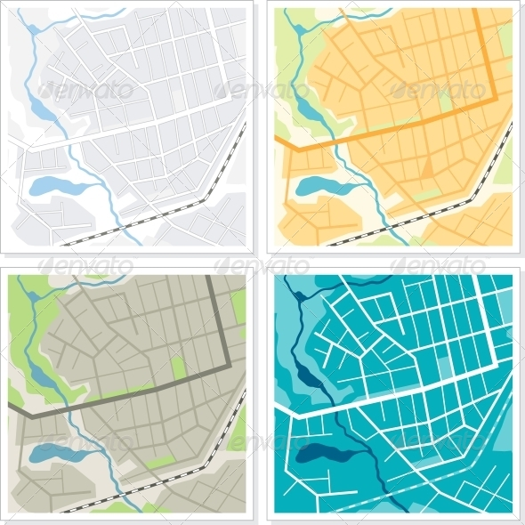Set of 4 Abstract Maps. - Travel Conceptual