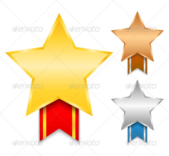 Star Shaped Medals  - Objects Vectors