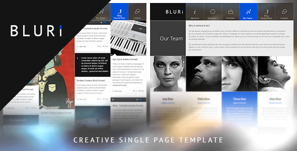 BLURI Single Page HTML Template - Portfolio Creative