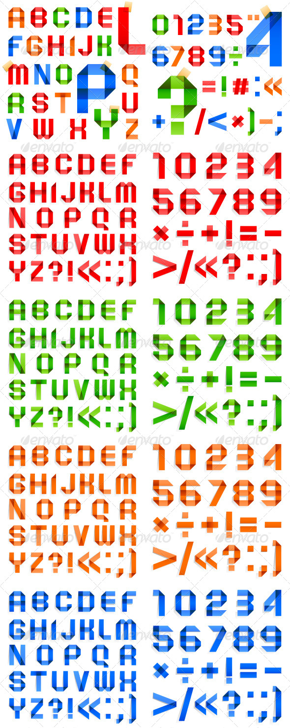 Font Folded of Ribbon Colored Paper Roman Alphabet - Decorative Symbols Decorative