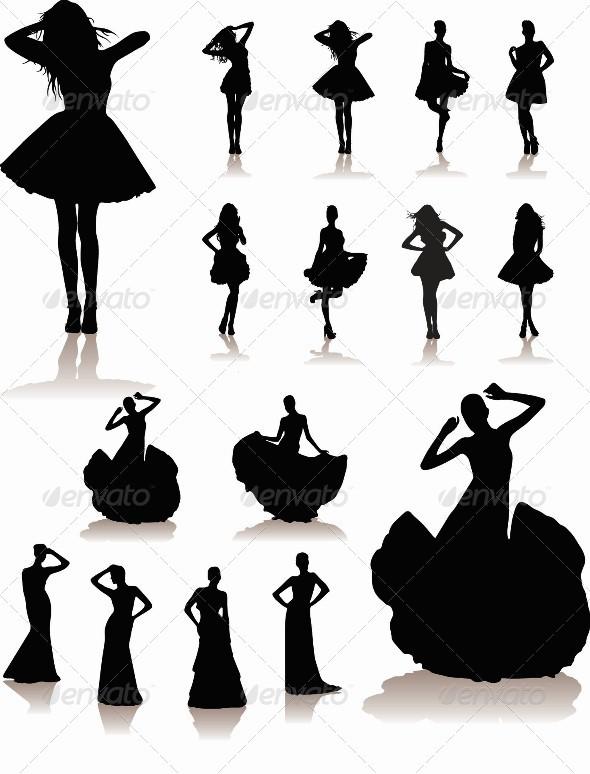 Set of Various Beautiful Model Girls in Dress - People Characters