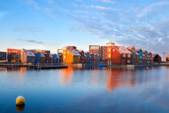 buildings on water at Reitdiephaven, Groningen - Stock Photo - Images