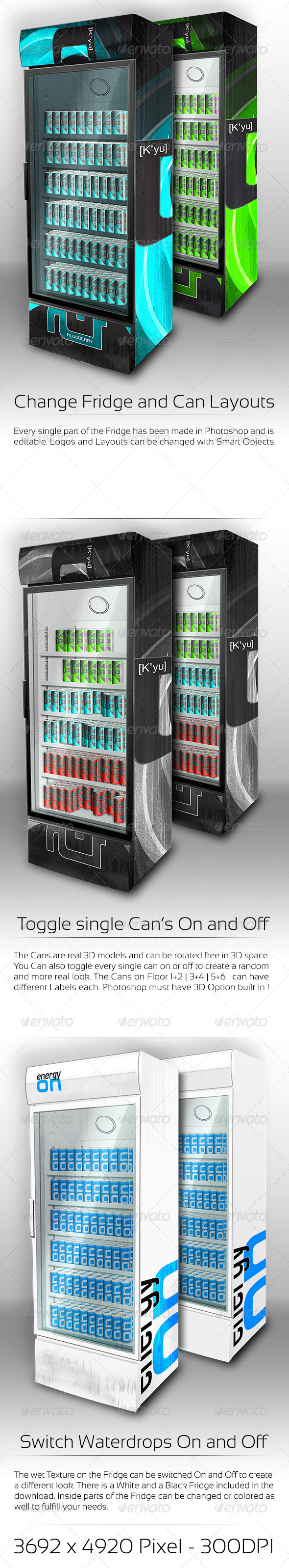 XL Fridge Mockup with Energy Drink Soda Cans - Food and Drink Packaging