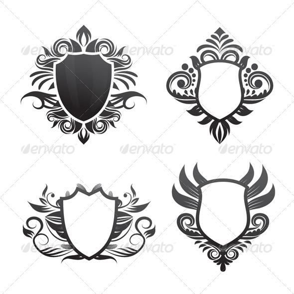 Shield Ornament Set - Decorative Symbols Decorative