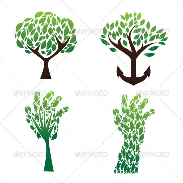 Tree Green Vector Set - Organic Objects Objects
